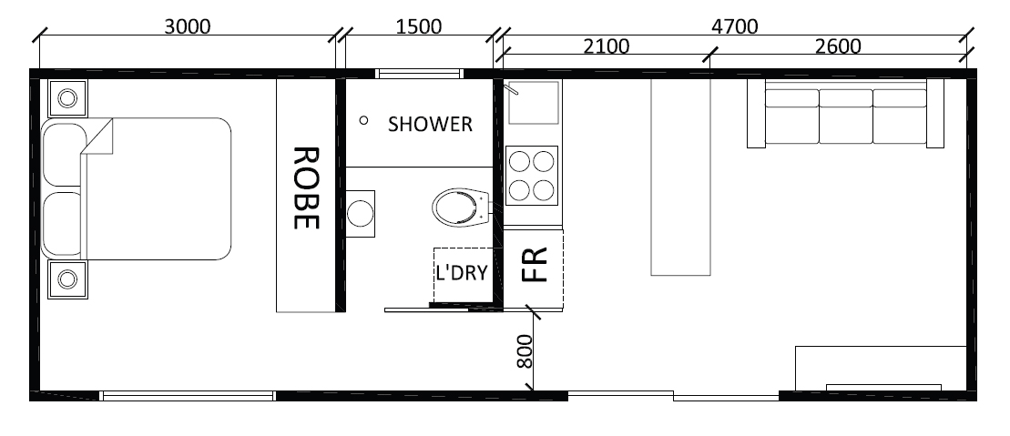 Floor roof plan for 1 bedroom granny flat designs